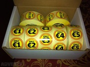 Box of 7 rolls of 1, 000 labels,  Yellow 7 red eye catching
